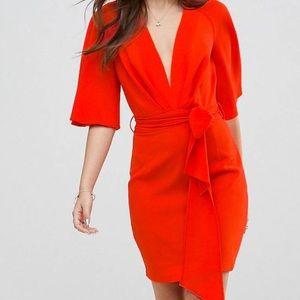 Fluted sleeve mini dress with belt